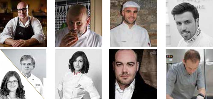 algunos de los chefs protagonistas del calendario de cursos 2018 de Valrhona en España