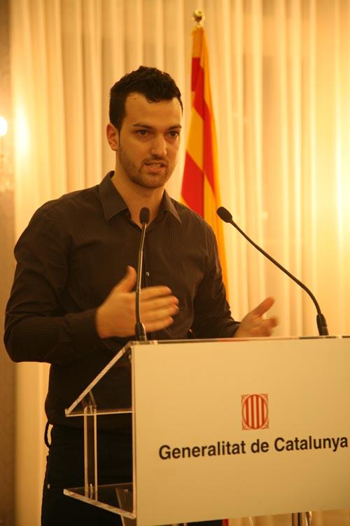 Lluís Costa, en pleno discurso del premio de Mejor Joven Artesano Innovador