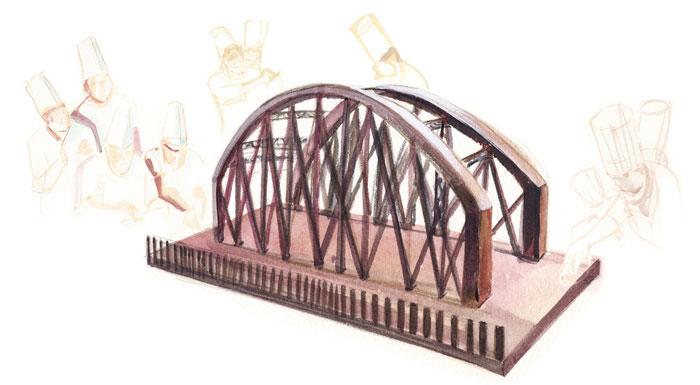 Ilustración del Puente de chocolate, por Cristina Méndez