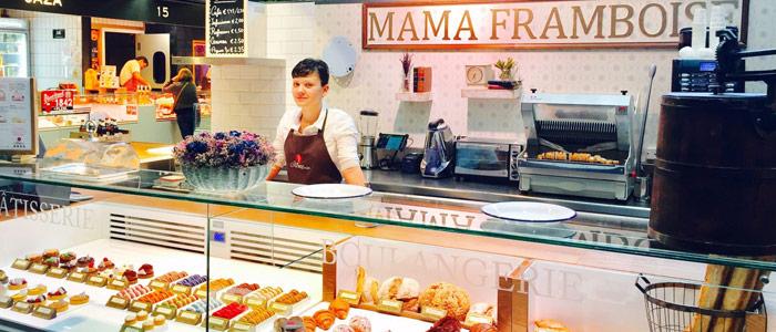 Punto de venta de Mama Framboise en el Mercado de San Antón de Madrid