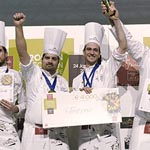 El podio final de la Copa Europea de Pastelería