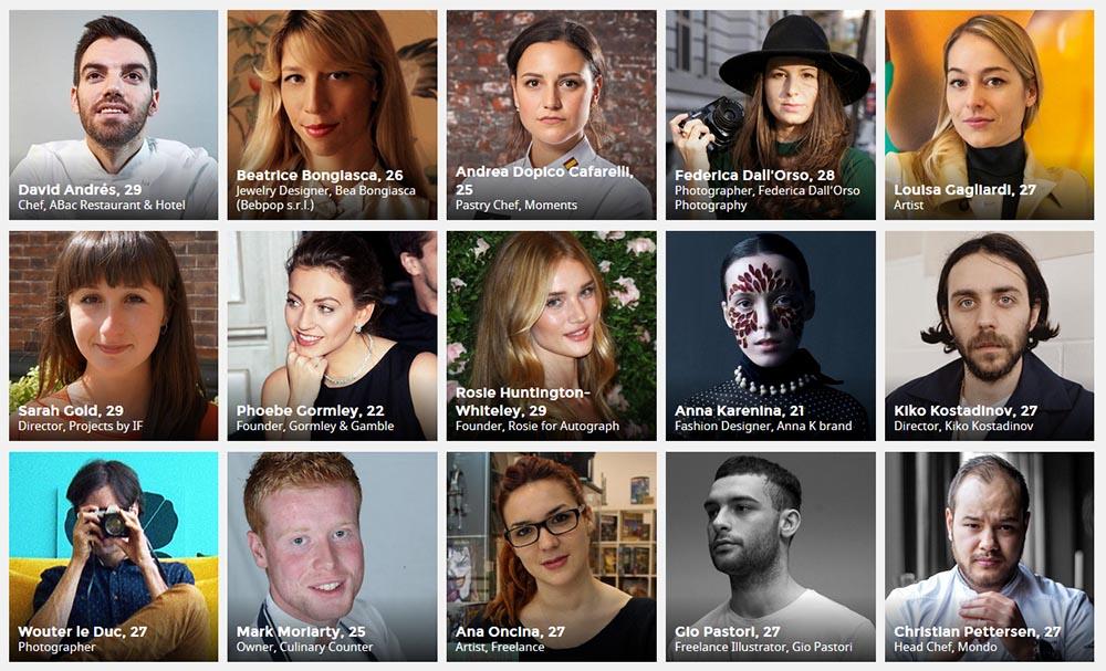 Algunos de los seleccionados en la lista de Forbes