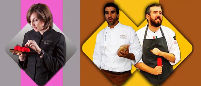 Los tres chefs protagonistas Cécile Farkas, Alberto Barrero y Jose Romero