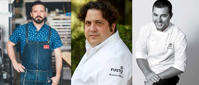 William Werner, Gianluca Fusto y David Briand en los cursos de Valrhona 2019