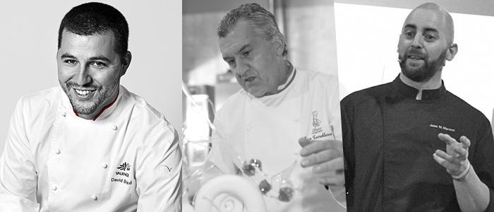 Tres de los chefs participantes en el evento: Torreblanca, Candela y Briand