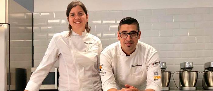 Elena Adell y Hans Ovando en la Bee Chef Pastry School