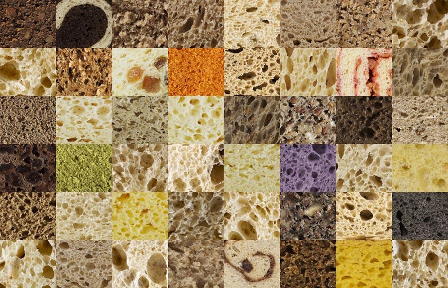 Mosaico con diferentes tipos de migas