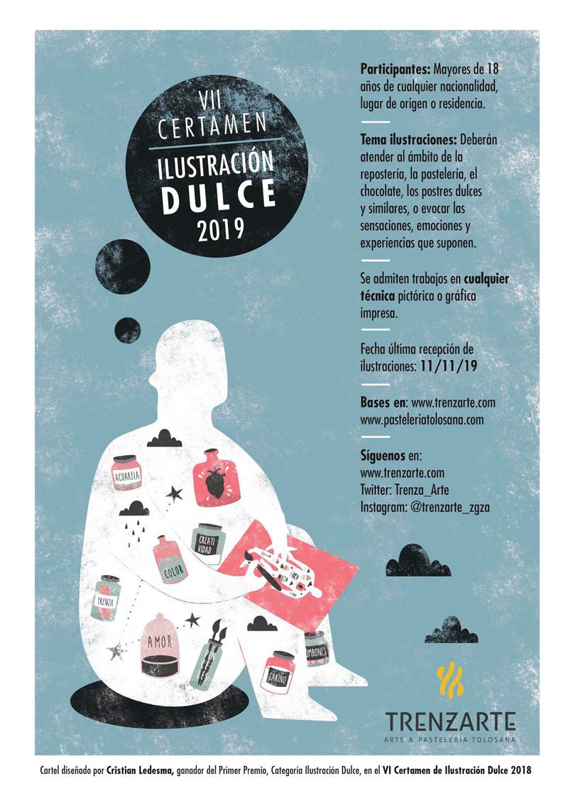Cartel promocional del VII certamen de ilustración Dulce de Tolosana