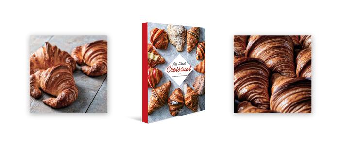 Portada y productos del libro All about croissants