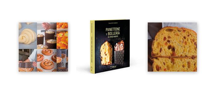 Portada y productos del libro Panettone y bollería de masa madre