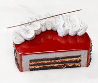 Entremet tarta de sésamo negro y frambuesa