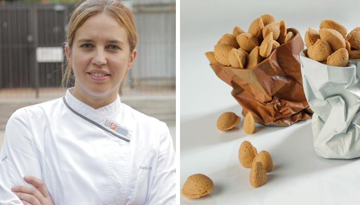 Saray Ruiz y unas almendras de chocolate