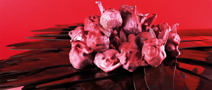 Bombón de foie con hibiscus de Jordi Farrés