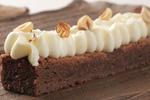 Brownie y crema de vainilla