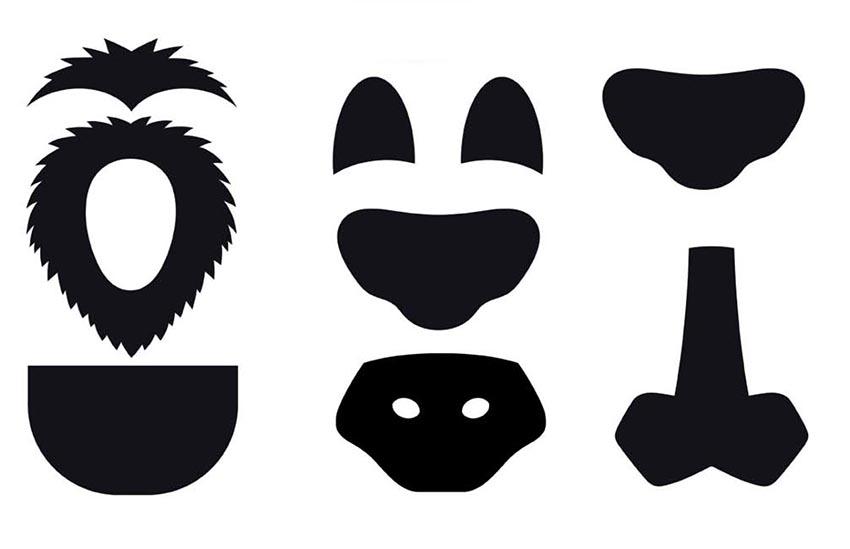 los patrones necesarios para realizar toda la máscara de león