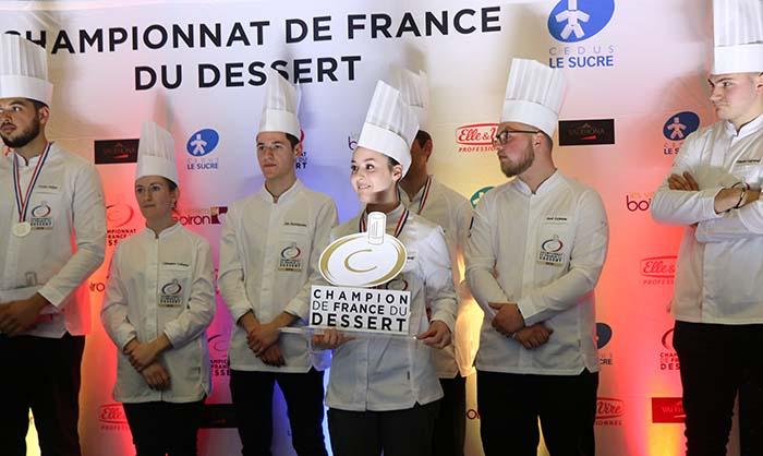 Marie Diana Bordils en el momento de ser proclamada vencedora en el Championnat de France du Dessert 2019