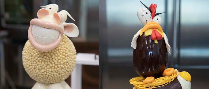 Dos huevos de Pascua de Gianluca Aresu: gallo y oveja