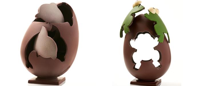 Huevos de Pascua de Oriol Balaguer: huevo destructurado con delfines y ranas en movimiento
