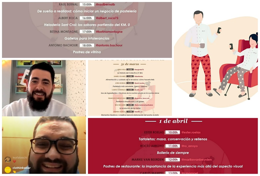 Composición de SweetHomeTalks con el programa de los diferentes días y un fotograa de uno de los lives