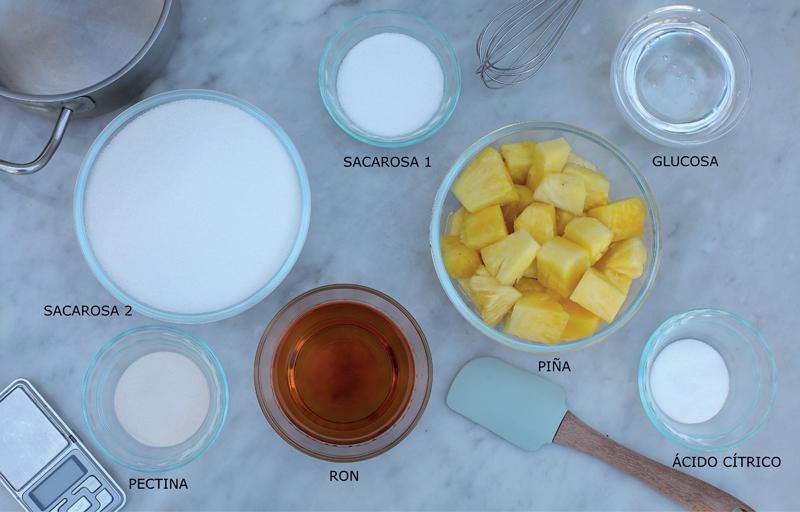 Ingredientes para elaborar la pâte de fruit