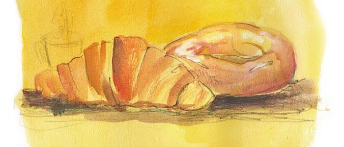 Ilustración croissant de mantequilla de Cristina Méndez