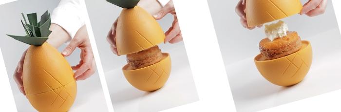 Figura de piña con cake de piña con piña caramelizada y mascarpone de coco de Saray Ruiz